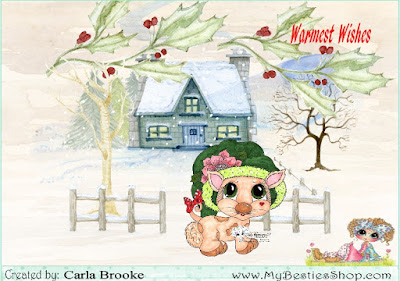 Here's my card using Little Winter Darling, a Bestie Doll 2A digi stamp. I colored this sweet stamp using Copic Markers.   I placed the colored digi stamp in the Craft Artist Program, where I combined it with elements from the Craft Scapes Winter Village Digikit.   Check the following links for more wonderful images:  http://www.mybestiesshop.com/store/c1/Featured_Products.html  https://www.etsy.com/shop/SherriBaldy   Challenges: