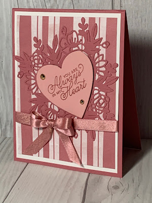 Valentine Card on Striped Paper Blooms Designer Series Paper with die cuts using Floral Heart Dies from Stampin' Up!