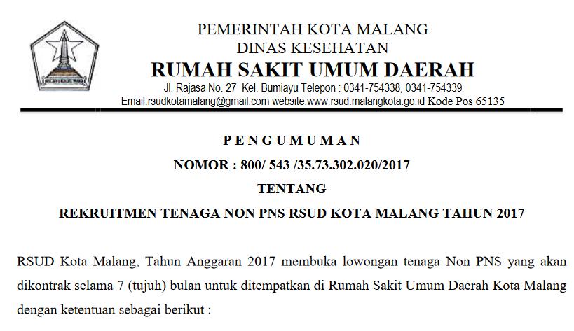 Rekruitmen Tenaga Non Pns Rsud Kota Malang Besar Besaran
