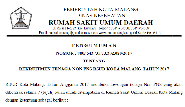Rekruitmen Tenaga Non PNS RSUD Kota Malang Besar Besaran Tahun 2017
