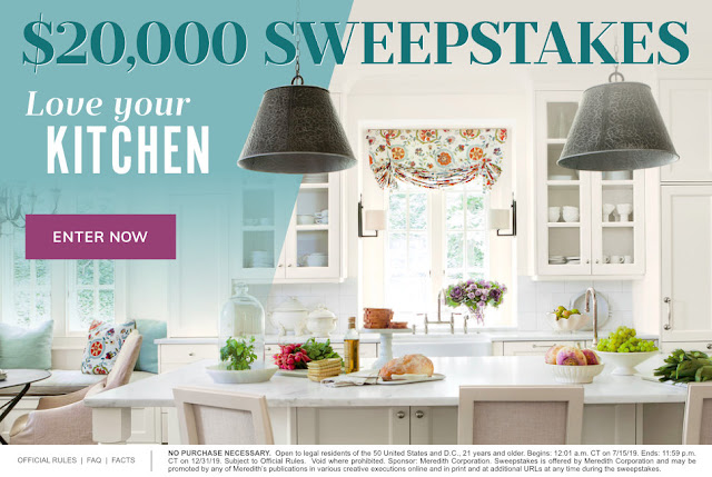 Southern Living and other related websites are offering you a chance to enter as many times as you'd like and you could win $20,000 cash for a kitchen makeover!