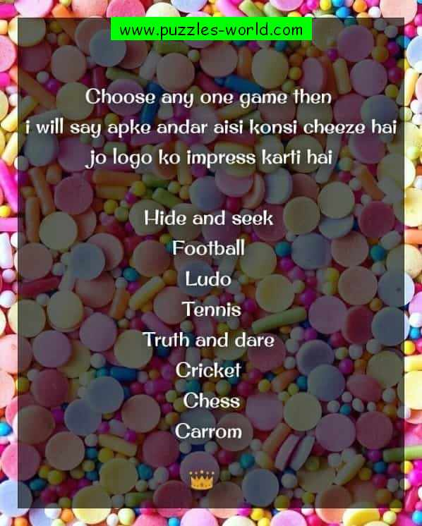 Choose any one game whatsapp sms games