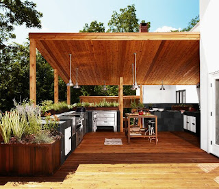 Modern minimalist house with a beautiful Outdoor Kitchen