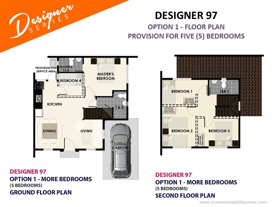 Option 1 - Floor Plan of Citta Italia - Designer 97 With Balcony | House and Lot for Sale Molino Bacoor Cavite