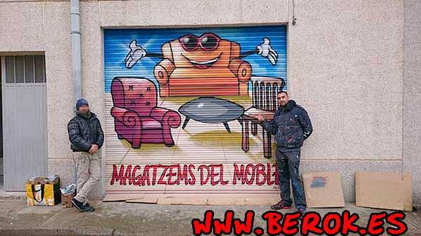 Graffitis para tienda de muebles en Verdú, Lleida