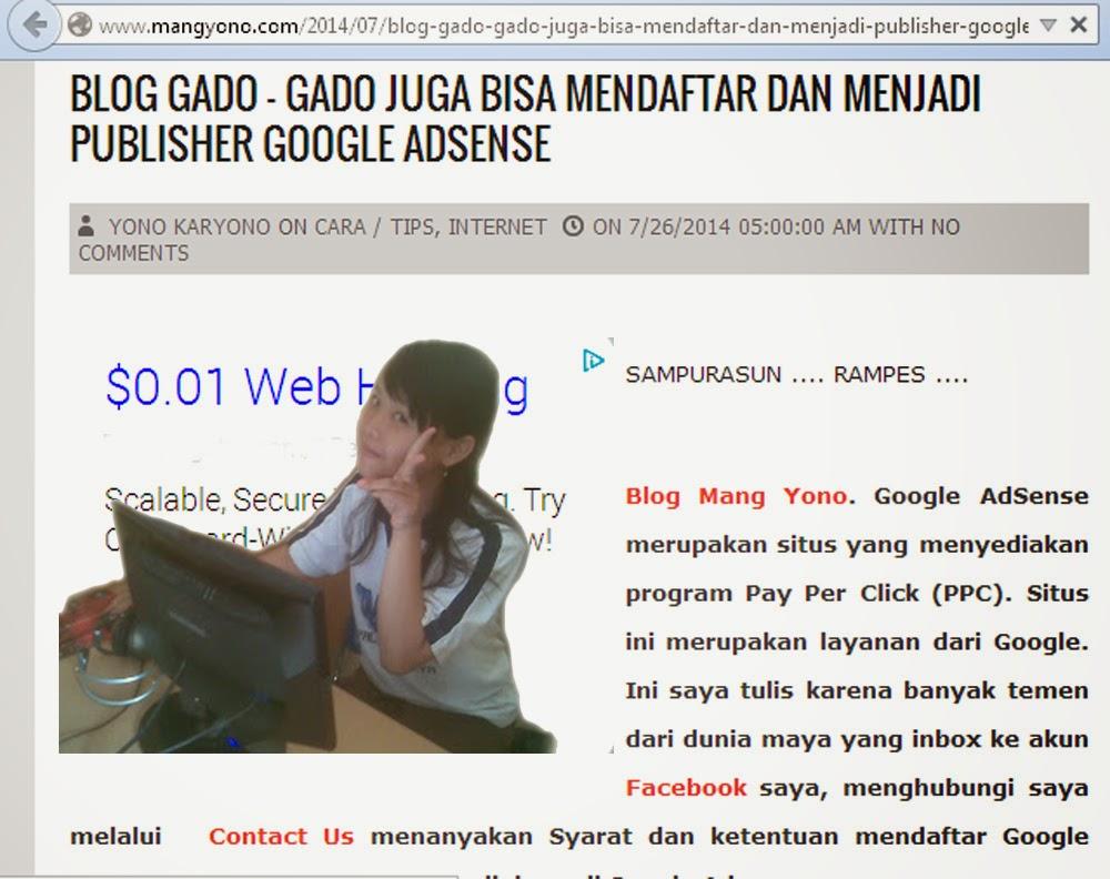 Blog Gado - gado juga bisa mendaftar dan menjadi publisher Google Adsense