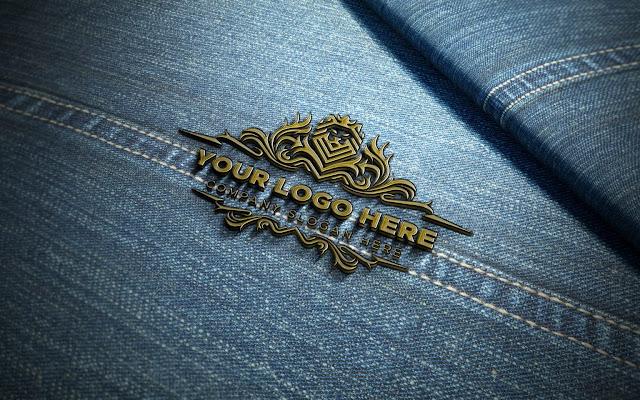 Metal Badge On Jeans Logo Mockup