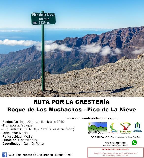 Caminantes de Las Breñas, Domingo 22 de Septiembre: Roque de Los Muchachos - Pico de La Nieve