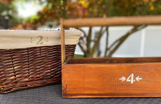 wooden baskets with numbers