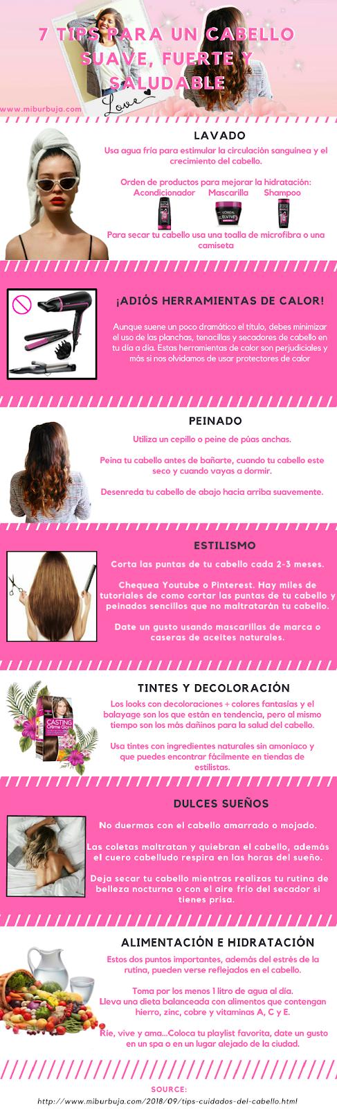 infografía tips cabello fuerte y saludable