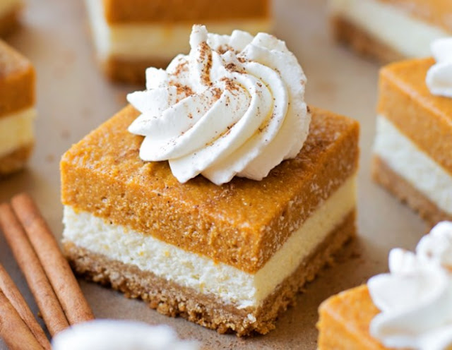 Pumpkin Cheesecake Bars #desserts #pumpkin