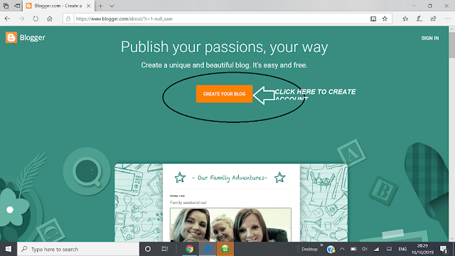 create account with blogger