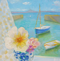 flower painting, still life, window art, Bee Skelton artist, roses, Cornwall, Mousehole harbour,
