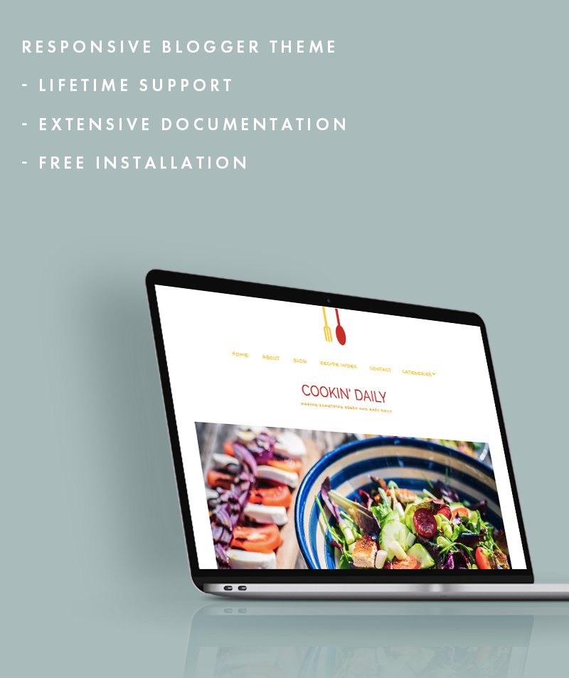 cookin daily blogger theme features