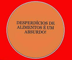 A imagem de fundo laranja e ao centro um circulo simbolizando um prato, mas no lugar da comida está escrito: desperdício de alimentos é um absurdo.