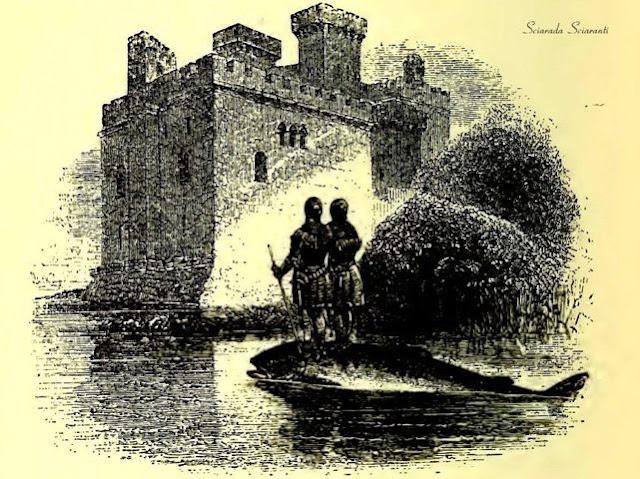 Kai e Gwrhyr Gwalstawd Iethoedd sul Salmonne di Llyn Llyw - Kilhwch e Olwen - Lady Charlotte Schreiber - 1902
