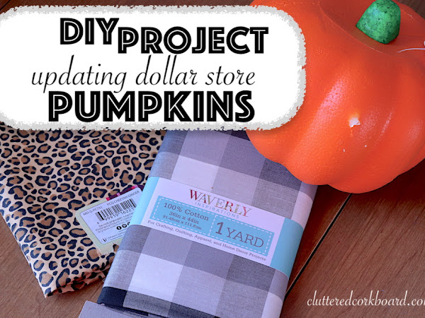 DIY Updating Dollar Store Foam Pumpkins with Fabric | Leopard Print and Buffalo Check
