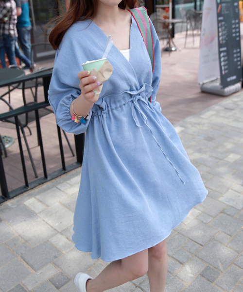 Drawstring Waist Surplice Neck Dress