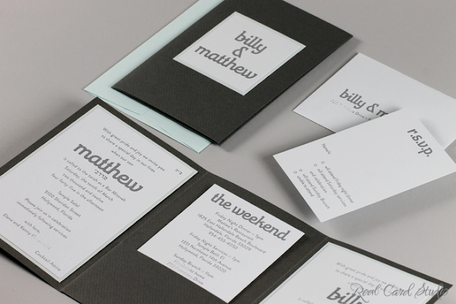 Charcoal gray, pocket folder, light blue, letterpress printing, interesting typography