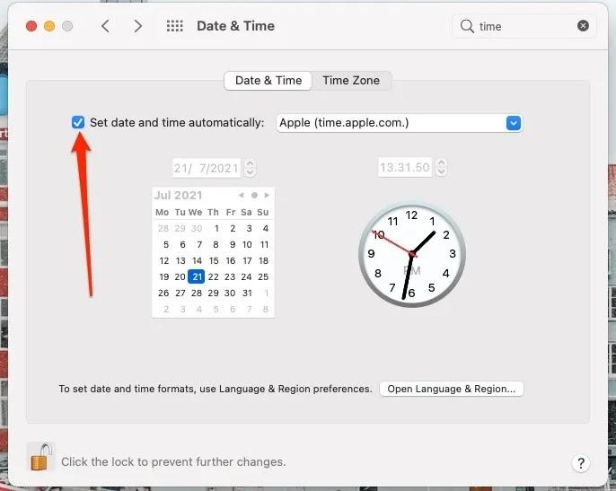 لقطة شاشة تعرض تطبيق التاريخ والوقت على نظام Mac