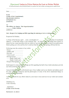 how to write a letter to police station for lost wallet in english