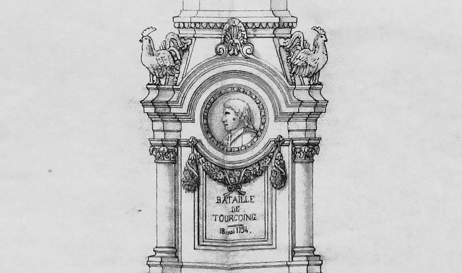 Projet Monument rejeté, (détail) - Bataille de Tourcoing.