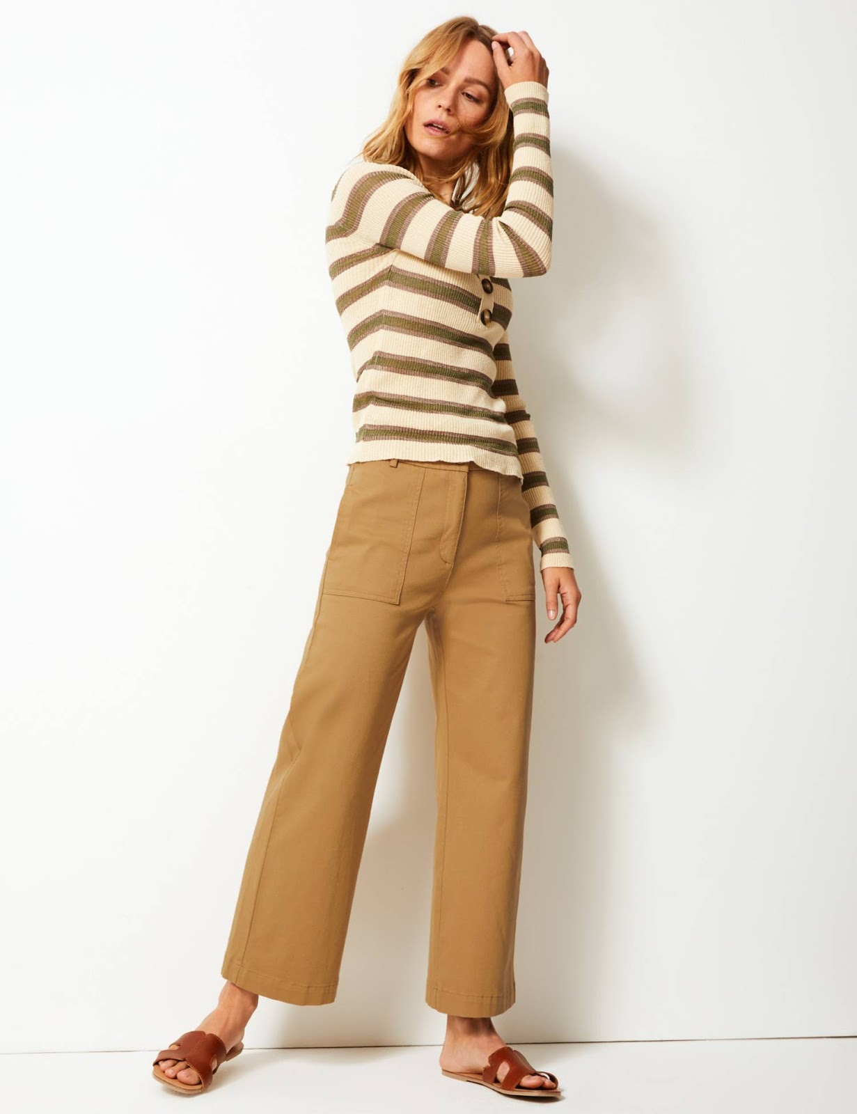 marks and Spencer wide leg utility style trousers