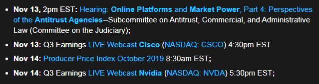 Week Ahead: Nov 13-14, 2019