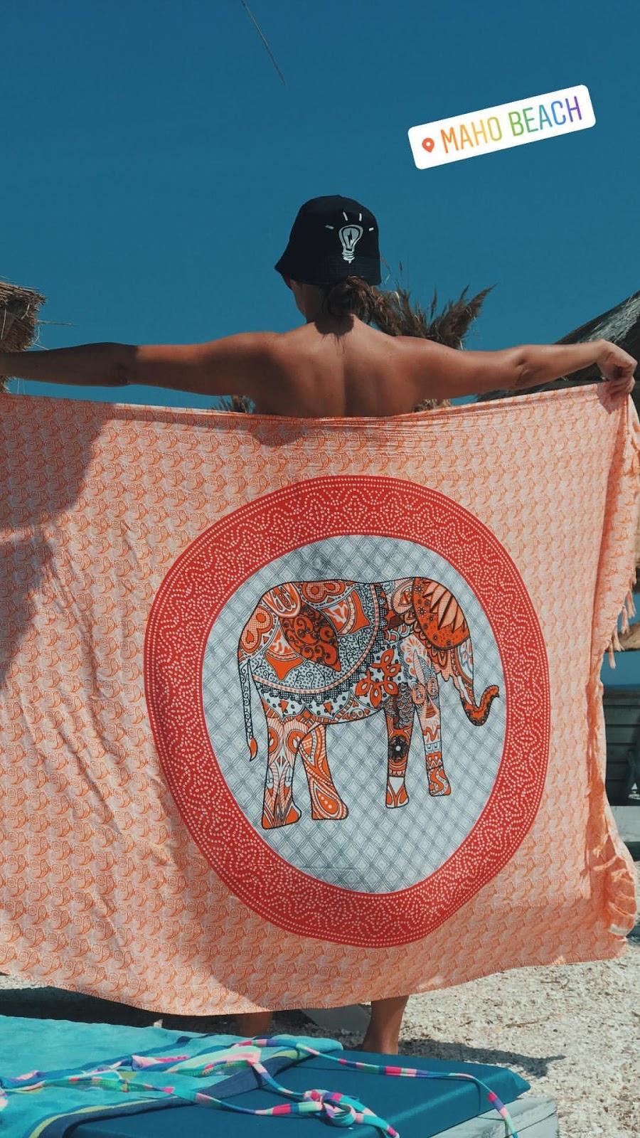 Alexandra Stan topless at Maho beach in the Caribbean 16 June, 2018