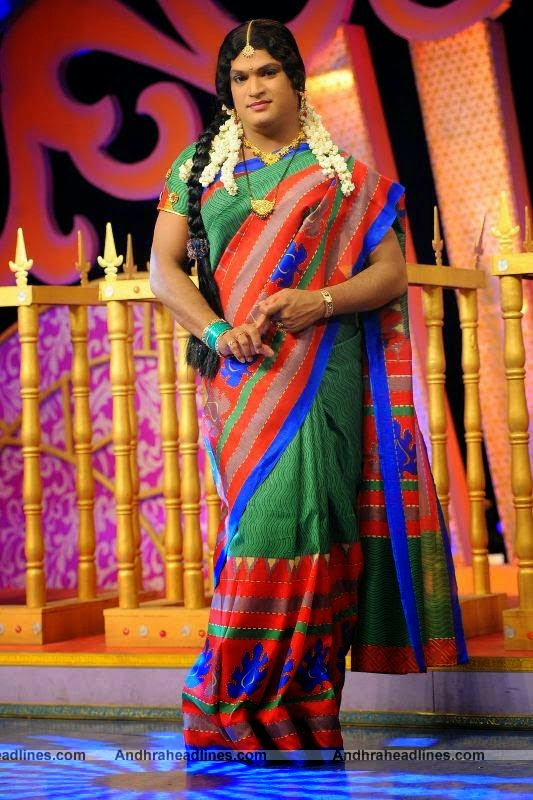Shiva Reddy in Saree