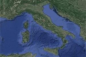 Situación de la península Itálica en la parte central del sur de Europa