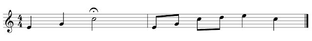 Partitura con calderón en una blanca situada en el tercer tiempo del primer compás