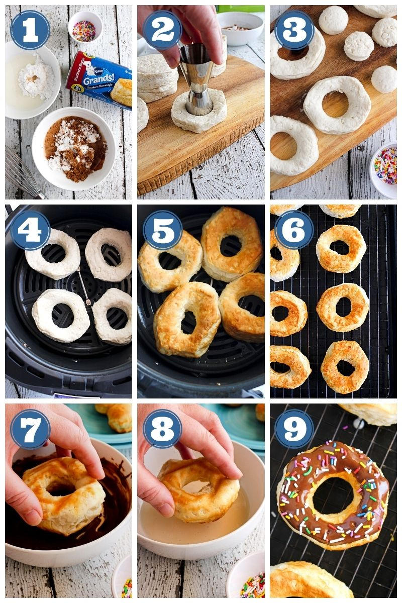 A step-by-step collage of the air fryer donuts being made.
