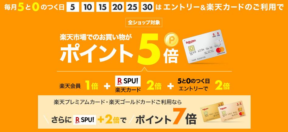 毎月5、10、15、20、25、30日は楽天市場で楽天カードを利用すると通常分と合わせて全部でポイント5倍。
