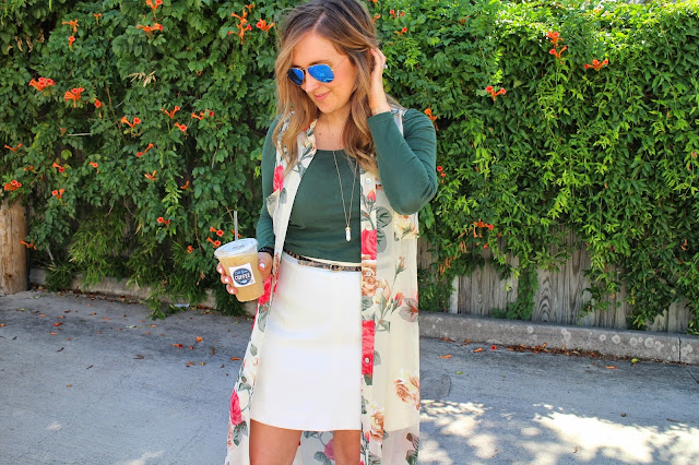 floral, fall fashion, floral kimono, white fluted skirt, j.crew fluted skirt, mirror ray-ban sunglasses, mirror ray bans, michael kore wedges, olive green long sleeve top, show me your mumu dress