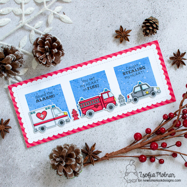 Emergency vehicles Valentine card by Zsofia Molnar | Love Emergency Stamp Set,Slimline Masking Circles & Squares Stencil Set and Slimeline Frames & Portholes Die Set by Newton's Nook Designs