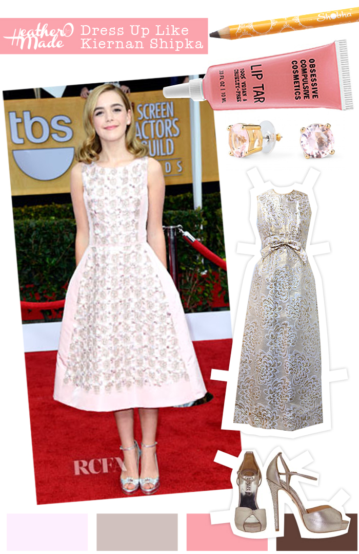 Shobha Brow Pencil (earth) // Obsessive Compulsive Cosmetics Lip Tar (Ophellia) // C. Wonder Bling Stud Earrings (Rose) //  vintage 1960s gold embroidered evening dress (that I would hem to a tea length) // Badgley Mischka Violetta Heels (in Platino). Kiernan Shipka's photo snagged from Red Carpet Fashion Awards.