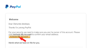 Image showing how to activate PayPal account