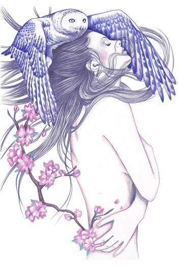 """Blue Wind"" by Andrea Hrnjak | dibujos bonitos a lapiz | imagenes lindas | illustration art | mujer con flores"