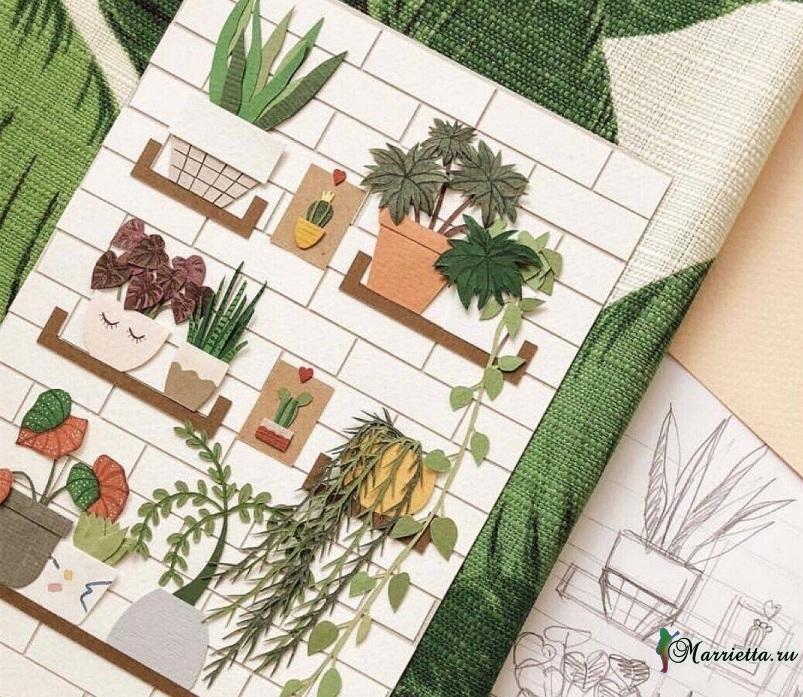 Комнатные цветы и растения из бумаги. Панно своими руками 1