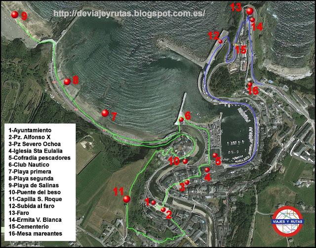 Mapa de Luarca con los principales sitios que visitar