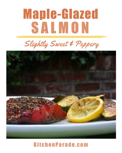 Maple-Glazed Salmon ♥ KitchenParade.com, simple salmon marinated in maple syrup, dusted with pepper and baked. Simple enough for a weeknight, special enough for company. High Protein. Weight Watchers Friendly.