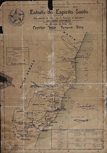Mapa Rodoviário do Estado do Espírito Santo. Organizado de ordem do Sr. Secretário da Agricultura Dr. Carlos Lindenberg, no governo do Exmo. Sr. Capitão João Punaro Bley. Vitória, dezembro de 1935.