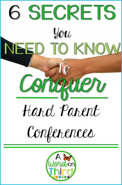 Navigate a tricky parent-teacher conference with these awesome tips from A Word On Third!