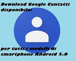 Download Google Contatti disponibile tutti smartphone Android 5.0