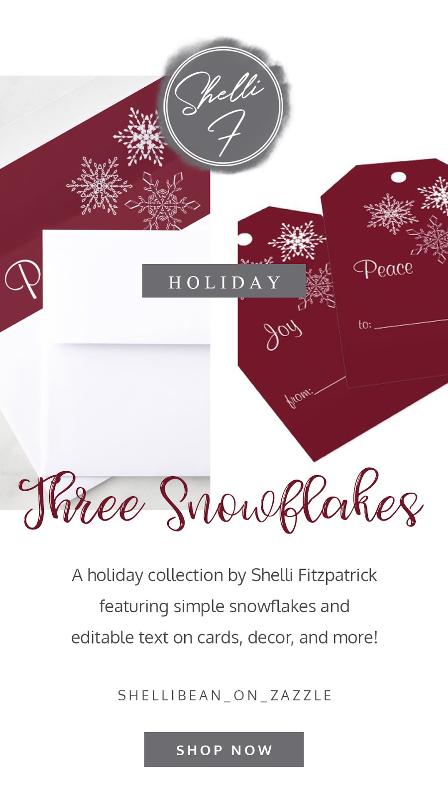 Three snowflakes minimal red holiday collection. Featuring personalized word on, gift tags, gift wrap, cards, and Christmas decor. In a joyful gray, frosty mauve, cranberry red, and fresh snow white color palette.