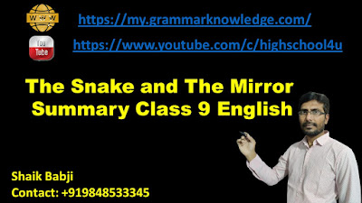 The Snake and The Mirror Summary Class 9 English