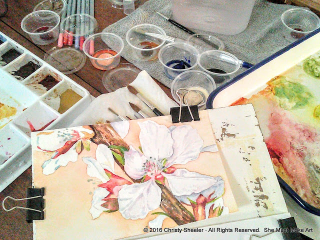 With several layers of watercolor, the main subject begins to pop, cherry blossoms come to life!
