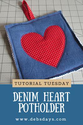 Homemade Heart Denim Potholder Sewing Project