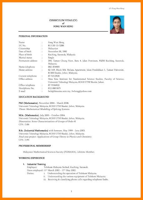 Fungsi Curiculum Vitae dan Contoh CV Lamaran Kerja